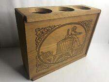 Beringer Vineyards Etched Wooden Wine Box Storage 3 bottles Slider Top