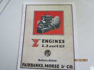 1925 Color Fairbanks Morse Z  2,3,6HP Engine Catalog Bulletin H245G
