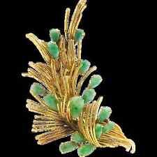 "Vintage Retro 14K Yellow Gold Natural Jadeite Jade Spray Brooch Pin - 3"" x 1.5"""