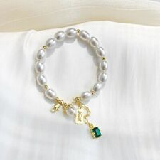 Emerald Pearl Made Bangle Women's Elegant Gold Plated Bracelet