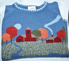 Large Fall Autumn Christopher banks sweater Hand Embroidered Farm Trees Blue