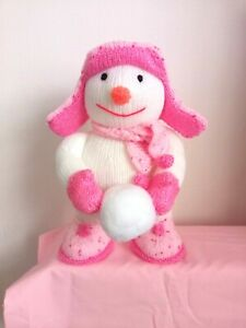 """HAND KNITTED FREESTANDING SNOWMAN """"PINK OUTFIT"""