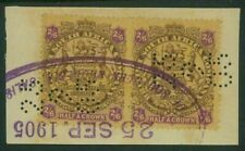 RHODESIA - 1896 2/6 Arms pair on piece fiscally used ... lovely (EM131b)