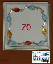 20 LARIMAR e AMBRA (amber) braccialetto in argento rodiato 925% - bracelet