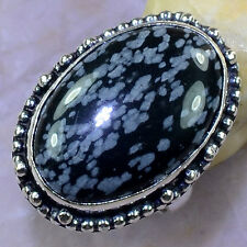 LOVELY RARE GENUINE SNOWFLAKE OBSIDIAN SILVER SERENITY AMULET RING SIZE 7 3/4