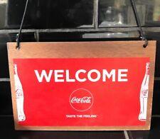 Coke Coca-Cola Genuine Double Sided Shop Welcome Sign Milk Bar Australian