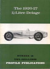 Delage 1½ Litre 1926-27 Profile Publication Number 18 12 page colour booklet