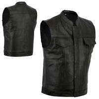 NEW SONS OF ANARCHY STYLE LEATHER VEST GENUINE LEATHER BLACK ZIP & STUD S - 8XL
