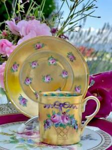 Sevres Rare Antique Cup and Saucer Gold and Roses Decor 19th ct.