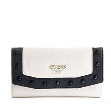GUESS Basel Wallet Purse Slim Clutch White Black Studded Phyton Embossed