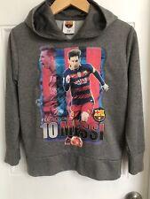 FC Barcelona Lionel Messi 10 Gray Hooded Sweatshirt Youth M  FCB Official Qatar