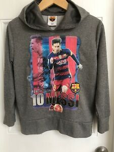 FC Barcelona Lionel Messi 10 Gray Hooded Sweatshirt Youth M  FCB Official Qatar