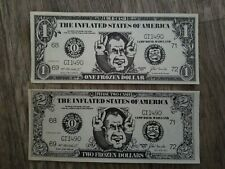 1972 RICHARD M NIXON SATIRICAL $1 & $2 DOLLAR BILLS FROZEN DOLLAR UNCIRCULATED