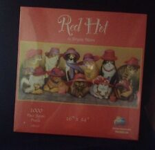 "Suns Out 1000 Piece Jigsaw Puzzle Red Hot Bryan Moon Cats In Hats 16"" X 34"""