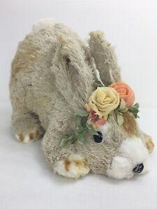 "Pier 1 Imports Sisal Natural Fiber Bunny Rabbit Laying Down 12"" New Tags"