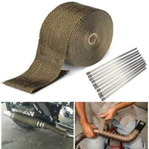 20M Titanium Gold Heat Wrap Tape Exhaust Insulating Downpipe Manifold 10 Ties