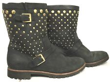 SPERRY BLACK LEATHER W GOLD TONE STUDS & BUCKLE MOTORCYCLE STYLE BIKER BOOTS 7.5