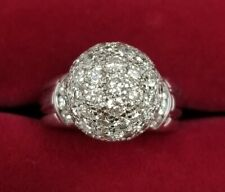 18k White Gold 69 Round Pave & Ch. Set Ball Dome Ring 3.06 cts tw H, VS-2 Sz 7.5