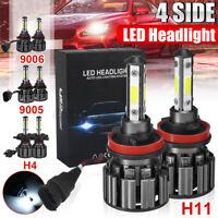 2x Headlight LED 4 Side Chips 8000LM Headlamp 9005 / 9006 / H4/ H11 6000K White