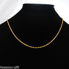 HX 1PC 24K Gold Plated 2mm Women's Twist Water Wave Chain Necklace 44.9cm long