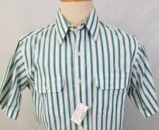 Oleg Cassini Button Front White/Green Striped Shirt Size M 62518-2 clo