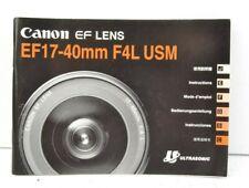 Canon Lens EF 17-40mm f/4L USM Instruction Manual User Guide VGC (513)