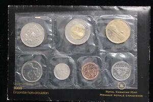 2008 Canada. 7 Coin Uncirculated RCM Set. Set, Card & Envelope. (#2)
