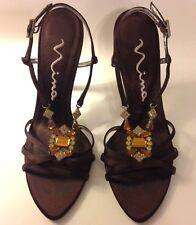 Nina Brown Satin Jeweled High Heel Strappy Stiletto Sandals Sz 8