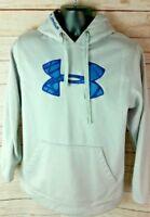Under Armour Loose Fit Performance Hoodie Sweatshirt (Mens Medium) Gray Blue