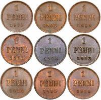 Finnland Finland Rußland Zar Nikolai II - KONVOLUT 9 Münzen - 1 Penni 1907-1916