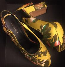 Dries Van Noten Slingback Yellow Fabric Heels 41 NIB