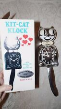 ANIMATED KIT-CAT CLOCK 2000 MILLENNIUM SILVER PLASTIC CHROME WITH BOX RARE!