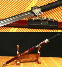42' RED SAYA FULL TANG 1060 CARBON STEEL BLADE DRAGON CHINESE HAN 汉剑 SWORD