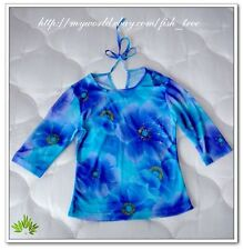 Babydoll Purple Blue Bright Floral Lace Top 3/4 Sleeve Blouse Shirt T-shirt Tee