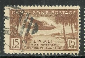 U.S. Possession Canal Zone Airmail stamp scott c17 - 15 cent 1939 issue -  xx