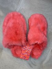 Anthropologie Sadie Faux Fur Slippers Size Small Medium Coral Sm/md