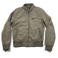 Vintage Members Only Brand Men's Beige Collar Strap Full Zip Bomber Jacket Sz S
