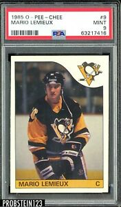 1985 OPC O-PEE-CHEE #9 Mario Lemieux Pittsburgh Pinguins Rookie PSA 9 CENTERED