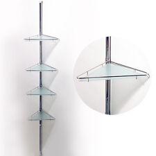 poliger - ausziehbar vier Brett Metall & glas-eck Wand Regal - Silber bats100f