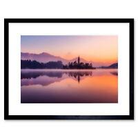 Lake Bled Island Slovenia Framed Wall Art Print 9x7 Inch