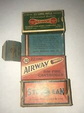 4 Old Ammo Boxes Remington Arms, Airway & Sta Klean(s) .22 Long Empty Boxes