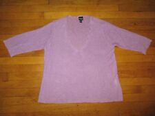 EILEEN FISHER sz L dark lilac hemp knit V-neck top with cropped sleeve