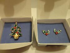 Avon FESTIVE HOLIDAY PIN & PIERCED EARRINGS DEMI PARURE - in ORIGINAL BOXES