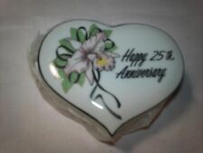 1#   1983 Enesco 25th Anniversary Heart Shaped Ring/Trinket Box New In Box