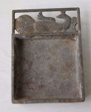 Vintage Retro Metal Ashtray With Ancient Civilization Ornament Mesopotamian Bird