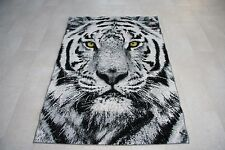 Large - Small Quality Wolf, Leopard, Tiger Rugs Grey Animal Print Rug 2 Sizes