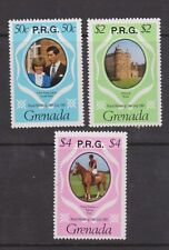 1981 Royal Wedding Charles & Diana MNH Stamp Set Grenada Optd P.R.G. Pink $4