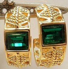 Signed Swarovski Earrings Gold Plated Crystal Green Pierced Large