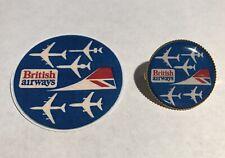 British Airways  Retro Gold Plated Badge & British Airways Cell Sticker