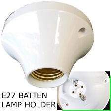 E27 Batten lamp holder White Round Design ES Bulb Halogen LED CFL Lighting DIY